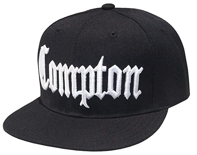 6474239163be86 Compton Flat Bill Snapback Adjustable Baseball Cap Hat (Black) at ...