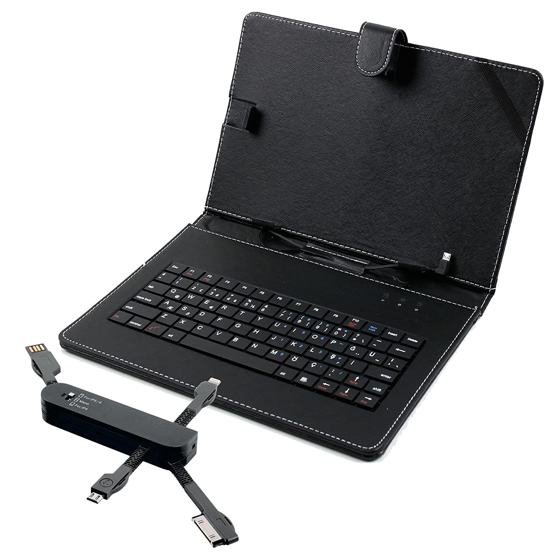 Carcasa rígida de piel sintética con teclado, Türkischer integrado para Polaroid Tablets (por ejemplo micd, midh, midq, midki, Infinite, Platinum, Rainbow.