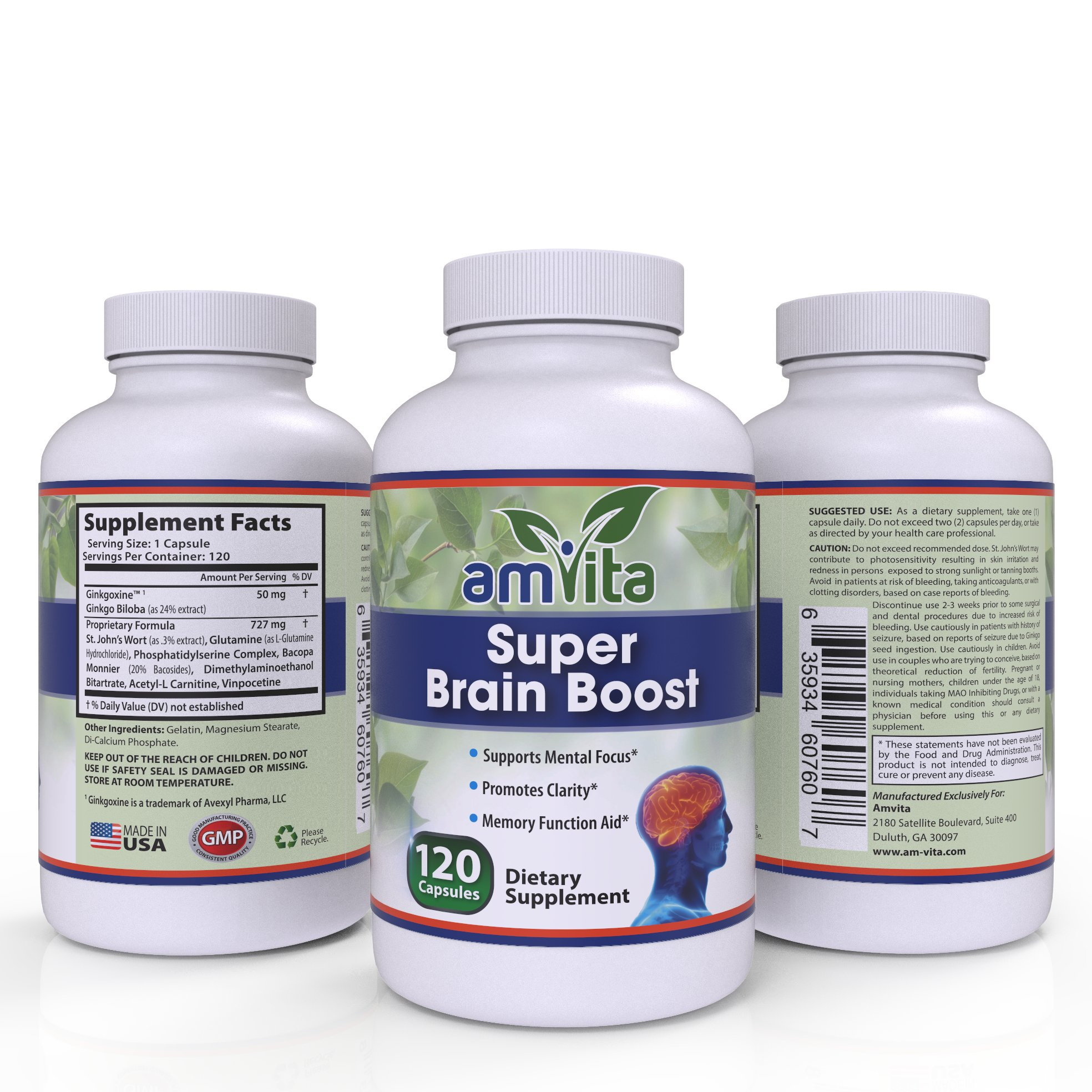 Super Brain Boost Complex All-natural with Ginkgo Biloba, St John's Wort, Bacopa, DMAE, and L-Glutamine - Made in USA - Neuro Functions, Memory, and Concentration - 120 Capsules