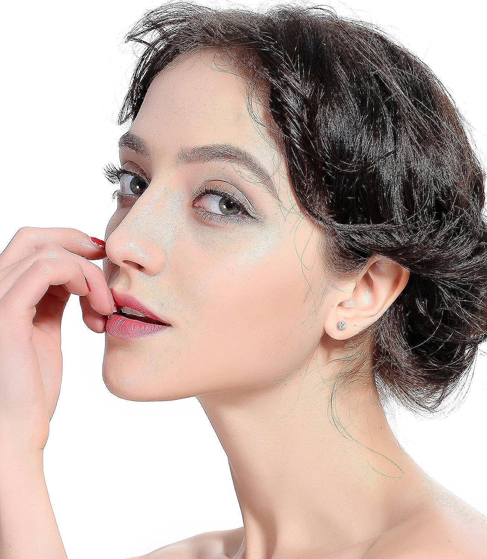 BESTEEL 6Paires Acier Inoxydable 2mm Petit Boucle d/'Oreille pour Homme Femme Boule Zircon Clou d/'Oreille Piercing Cartilage