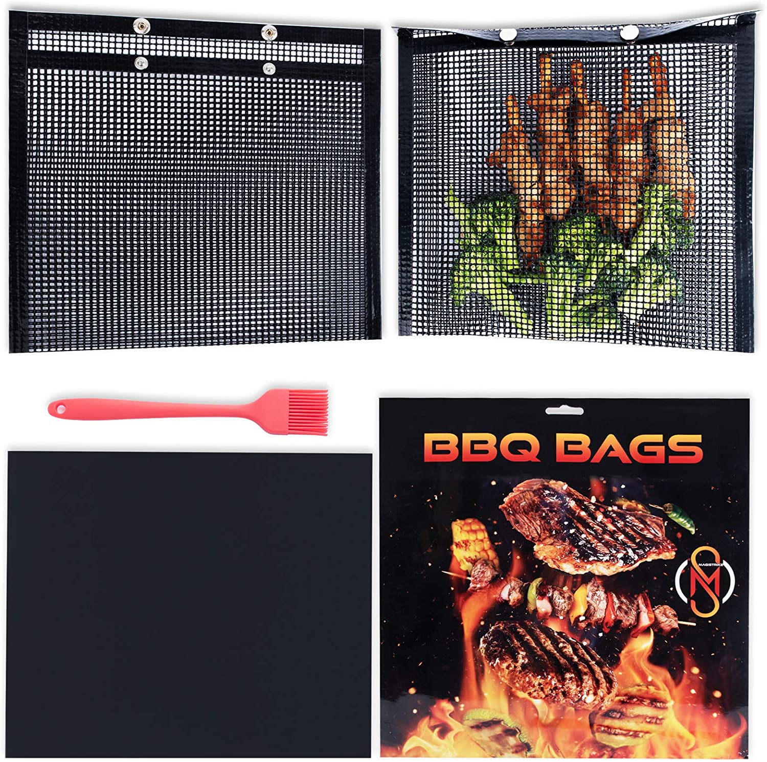 Mesh Grill Bags Combo Set - 2 Pcs Barbecue Cook Pouch 1 Pc Mat and Silicone Brush-Non-stick Reusable Tools for Outdoor Grilling Oven Gas Charcoal-Meat Fish Veggies Food Grillers-Must-have Bbq Items