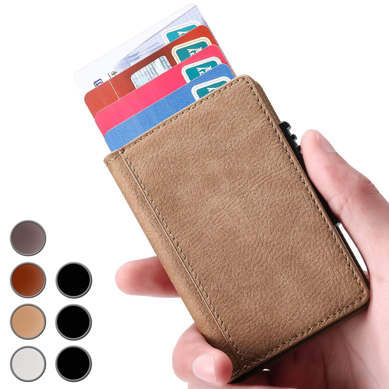 Brooben Credit Card Holder RFID Slim Leather Wallet Auto Pop-up Crocodile Brown CC1-CrocodileBrown