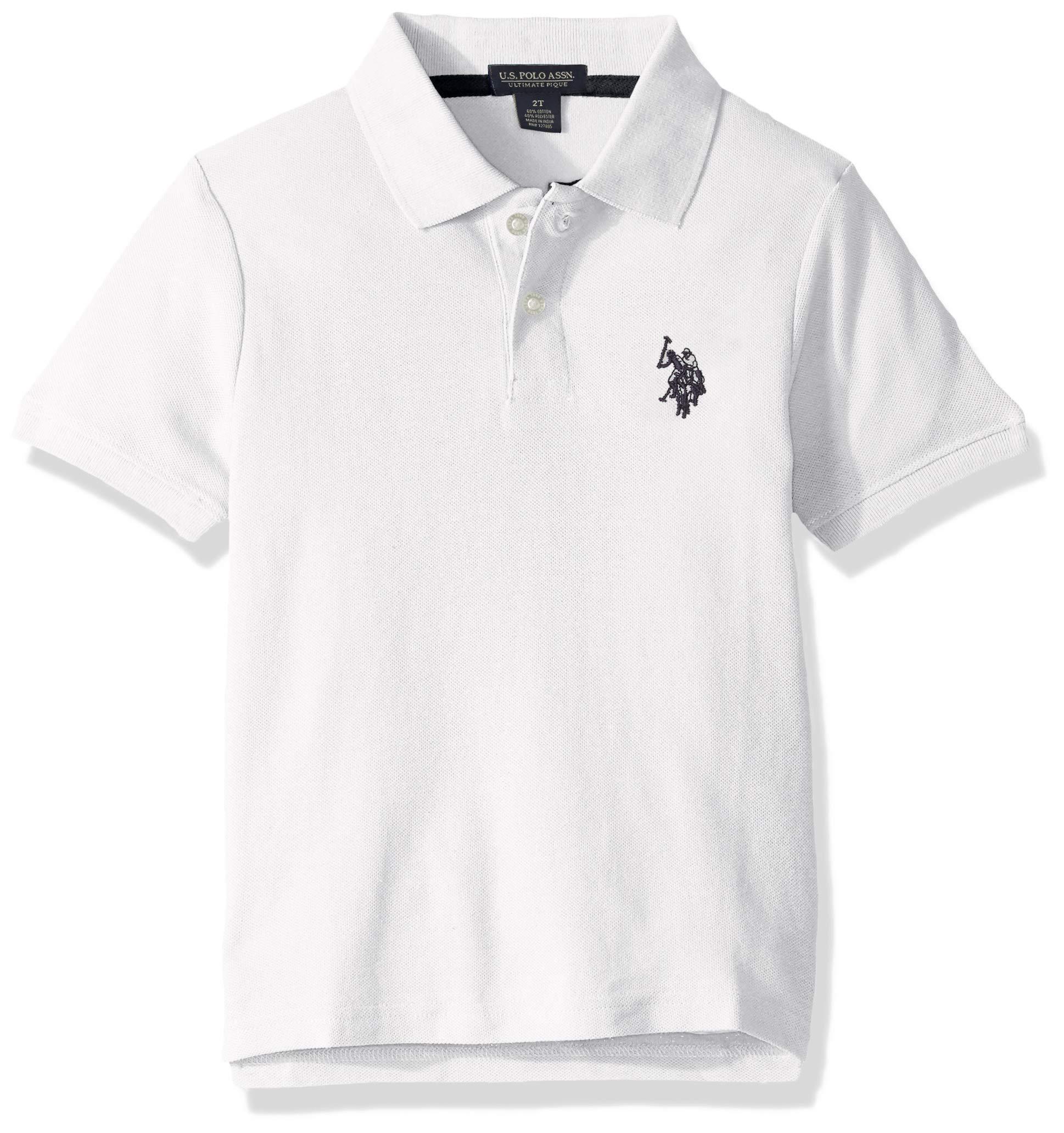 U.S. Polo Assn. Boys' Big Short Sleeve Performance Polo Shirt, White, 14/16