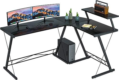 Coleshome Reversible L Shaped Desk 60.8″ Home Office Desk