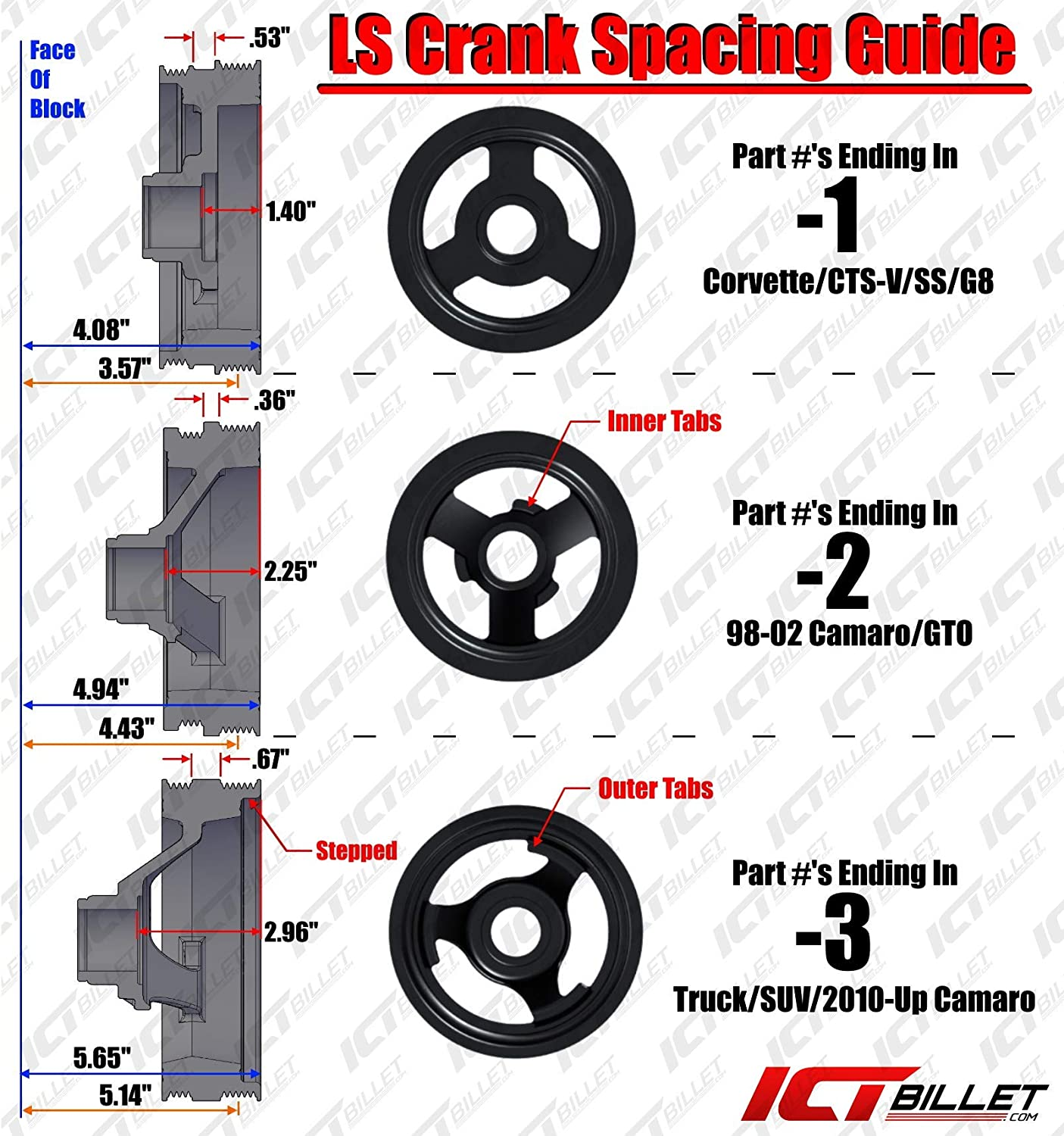 ICT Billet LS1 Camaro Turbo Power Steering Pump Bracket kit for turbo headers Compatible with 1998 to 2002 LS1 Camaro Power Steering Pump /& Pulley Designed /& Manufactured in the USA 551581-2