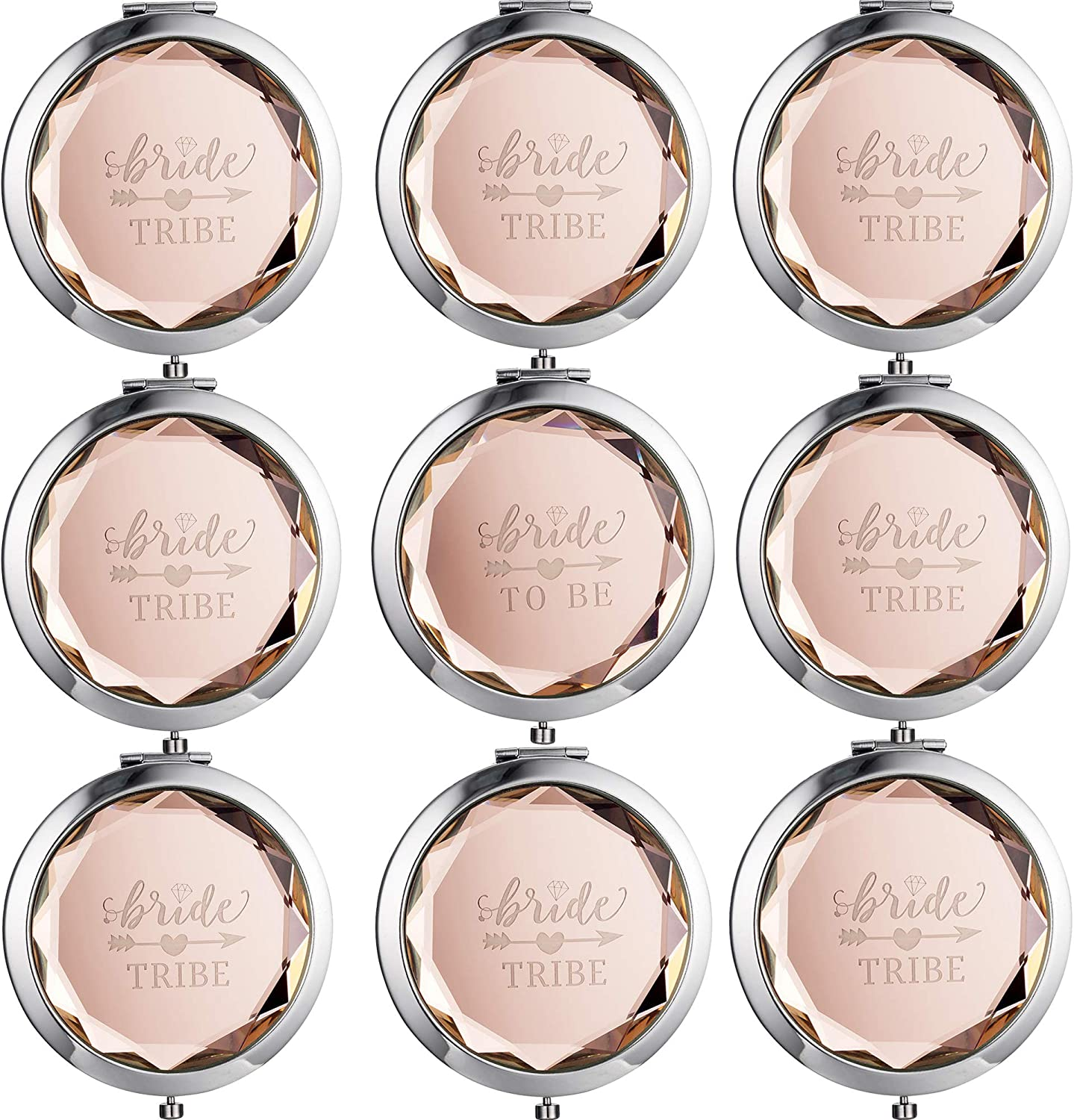 9 Sets Makeup Pocket Compact Mirror, 1 Bride To Be Makeup Mirror 8 Bride Tribe Mirrors Wedding Bridesmaid Gifts-Double Magnifying Mirror For Bridal Party,Champagne Diamond Cutting Style Pocket Mirror