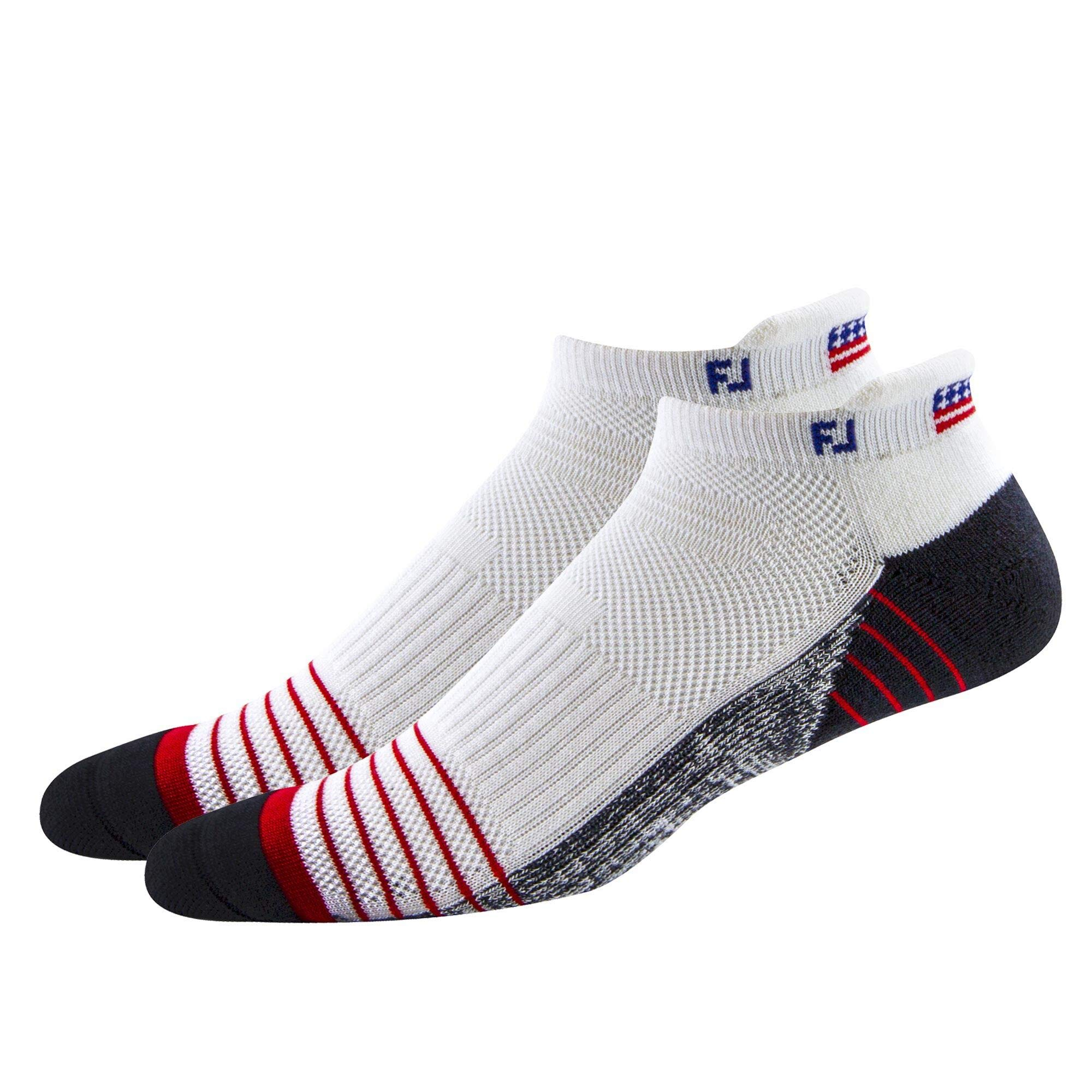 FootJoy TechSof Tour Flag Roll Tab 2-Pack Socks, White, Fits Shoe Size 7-12 by FootJoy