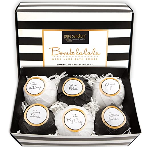 Bath Bombs Gift Set - Luxury Bath Fizzies - Lush Size 6oz Natural Bath Balls - US Made - Bombe la la la