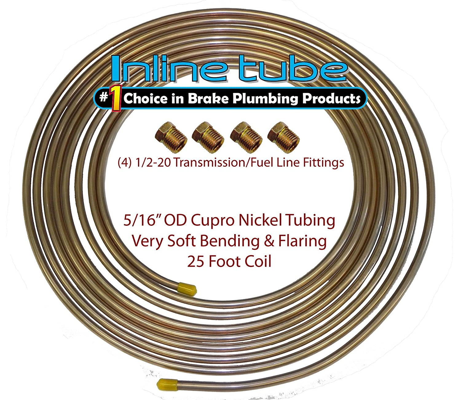 L-5-3 + D-3-11 Copper Nickel Fuel Line Tubing 5//16 25 Ft Coil Roll /& 1//2-20 Fittings USA CN5