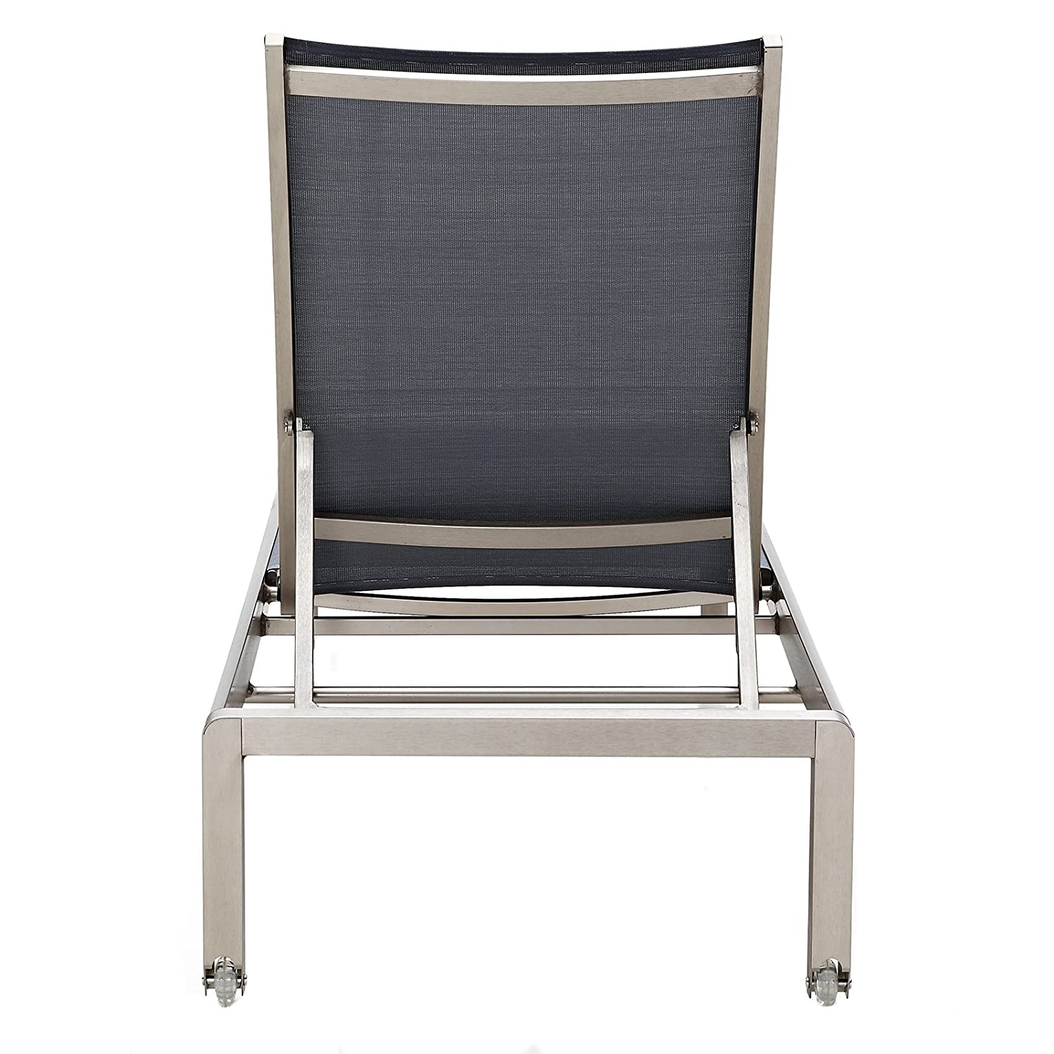 Anodized Aluminum//White Meelano 200-WHI M200 Outdoor Chaise Lounge