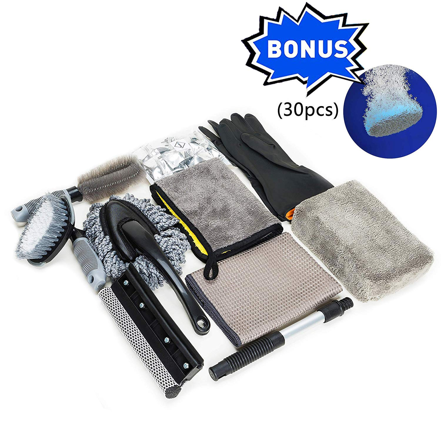 wemk 9pcs Car Cleaning Tools Kit With Car Duster Vent Brush Tire Brush Wash Mitt Sponge Wax Applicator Microfiber Cloths Window Water Blade Brush 30 Pcs Car Windshield Multifunctional effervescent spr