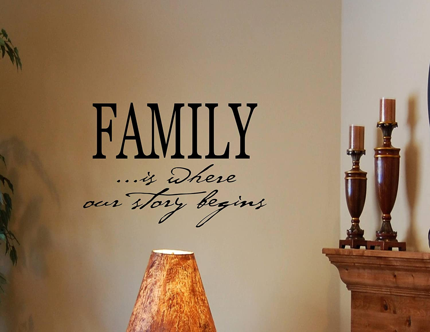 Amazon.com FAMILY IS WHERE OUR STORY BEGINS Vinyl Wall Decals Quotes Sayings Words Art D... Home u0026 Kitchen & Amazon.com: FAMILY IS WHERE OUR STORY BEGINS Vinyl Wall Decals ...