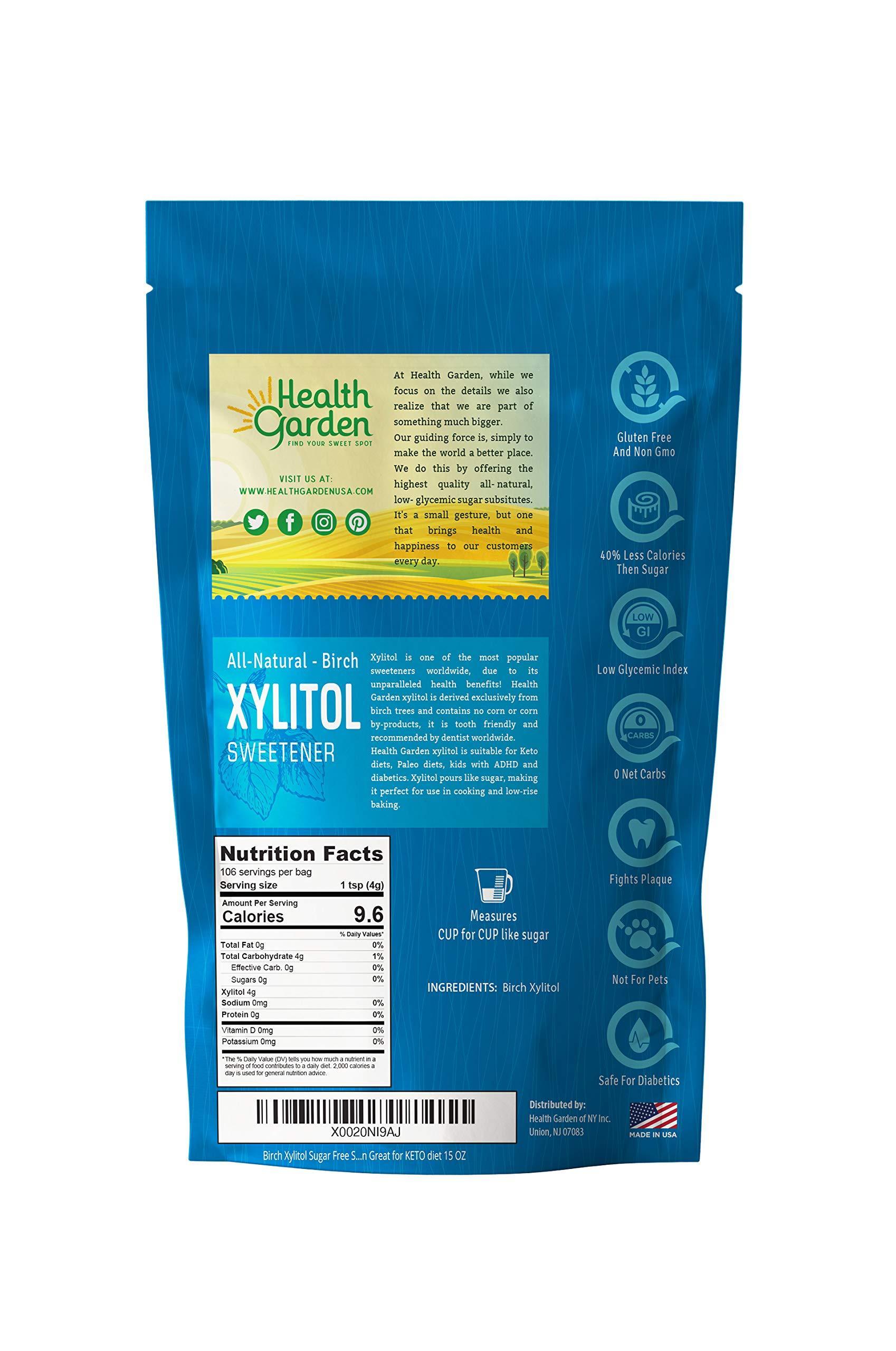 Birch Xylitol Sugar Free Sweetener - 100% All Natural, Non GMO, Health Garden Great for KETO diet 15 OZ by HEALTH GARDEN (Image #2)
