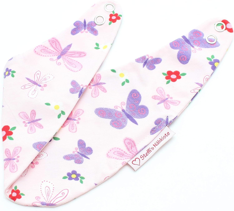 Steffis N/ähkiste Verstellbares Wendehalstuch Schmetterlinge rosa