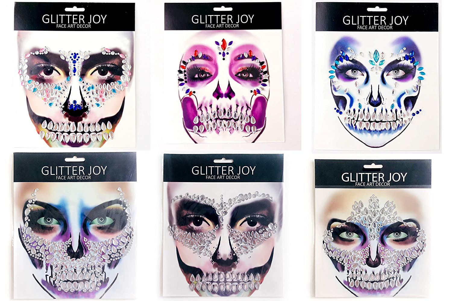 Leoars Skull Face Gems Jewels, Halloween Temporary Face Tattoos, Rhinestone Face Jewels Tattoo Stickers, Crystals Body Gems Stick on Face for Festival Rave Party Outfit, 6-Pack