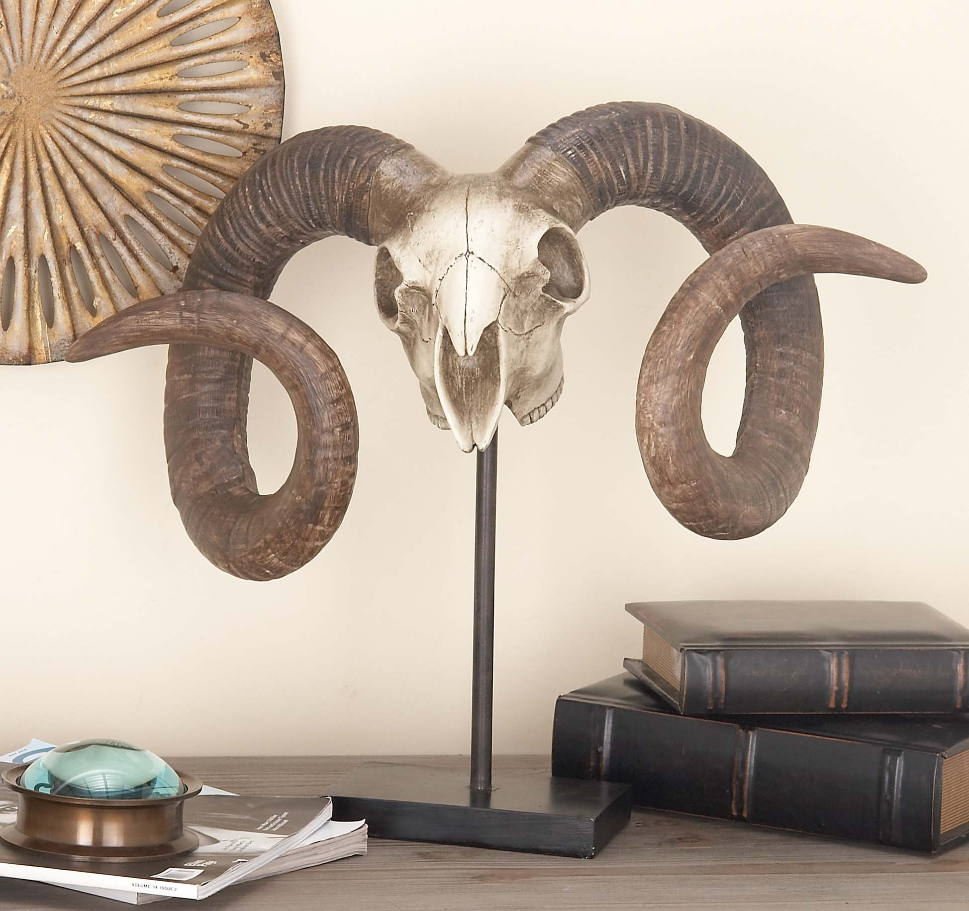 Deco 79 Polystone Sheep Skull on Stand, 22 by 17-Inch by Deco 79