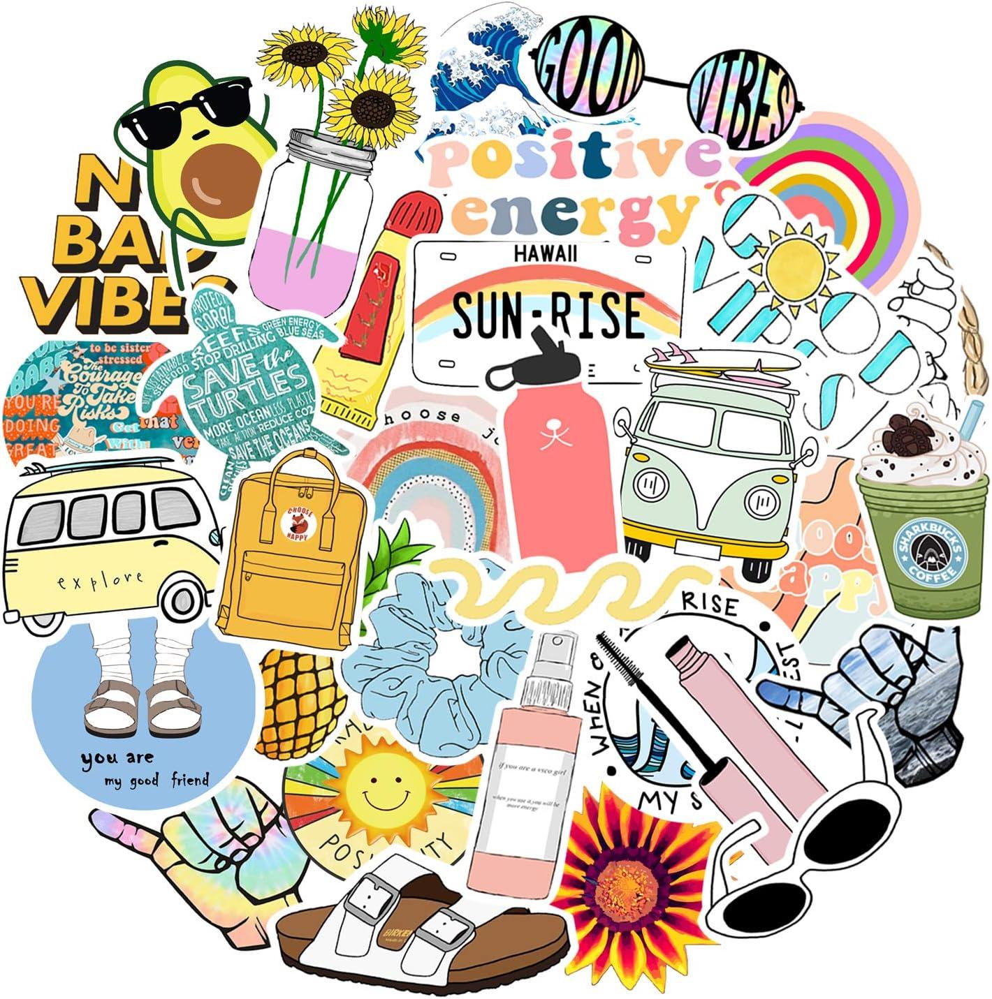 35 PCS Stickers for Hydroflasks, Laptop VSCO Water Bottle Vinyl Skateboard Stickers for Kids, Teens, Girls, Women