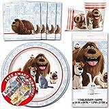 Secret Life Of Pets - Children's Birthday Party Tableware Pack Kit For 16 Kids