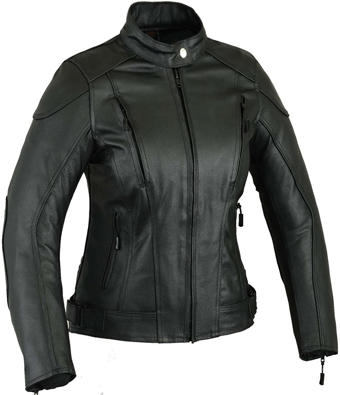 Black Womens Impact Leather Motorbike Jacket Motorcycle S
