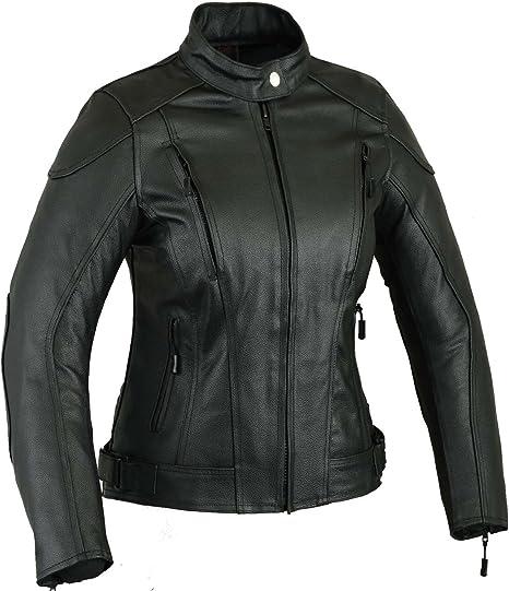 GearX Impact Leder Motorrad Jacke Frauen Damen Schutz Mantel, L