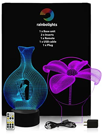 GIFT FOR MOM FLOWER VASE 3D Illusion Lamp WITH SMALL BIRD 2 Acrylic Designs In