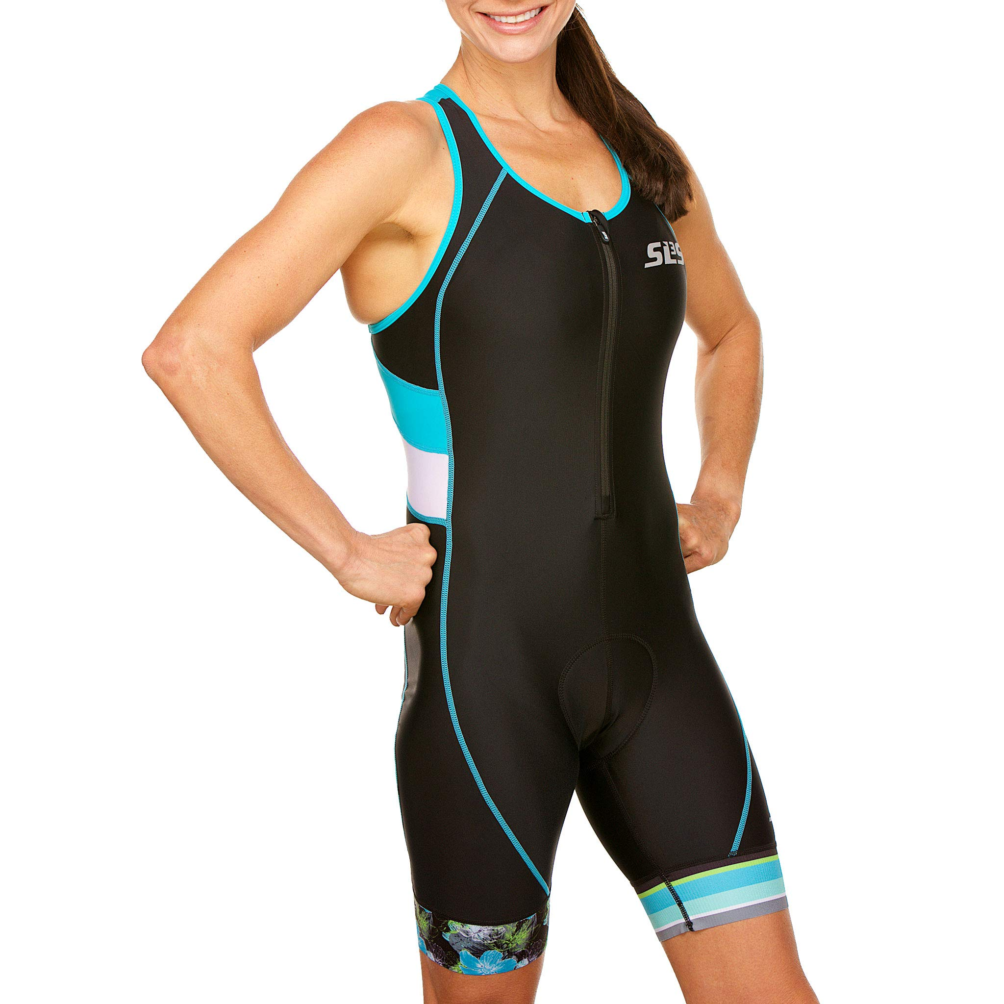 SLS3 Women`s Triathlon Suit FX | Womens Trisuits | 1 Pocket Triathlon Gear Suits Women | Anti-Friction Seams Womens Tri Suit | German Designed (Black/Martinica Blue, XL) by SLS3 (Image #5)