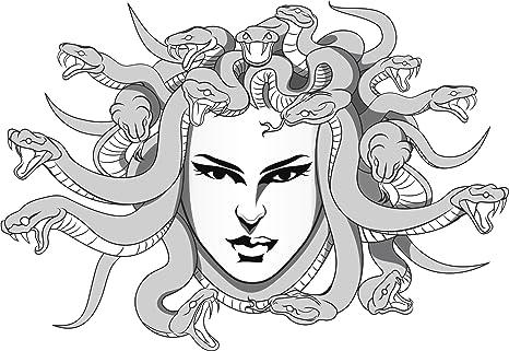 Amazon Com Traditional Grayscale Medusa Head Cartoon Vinyl