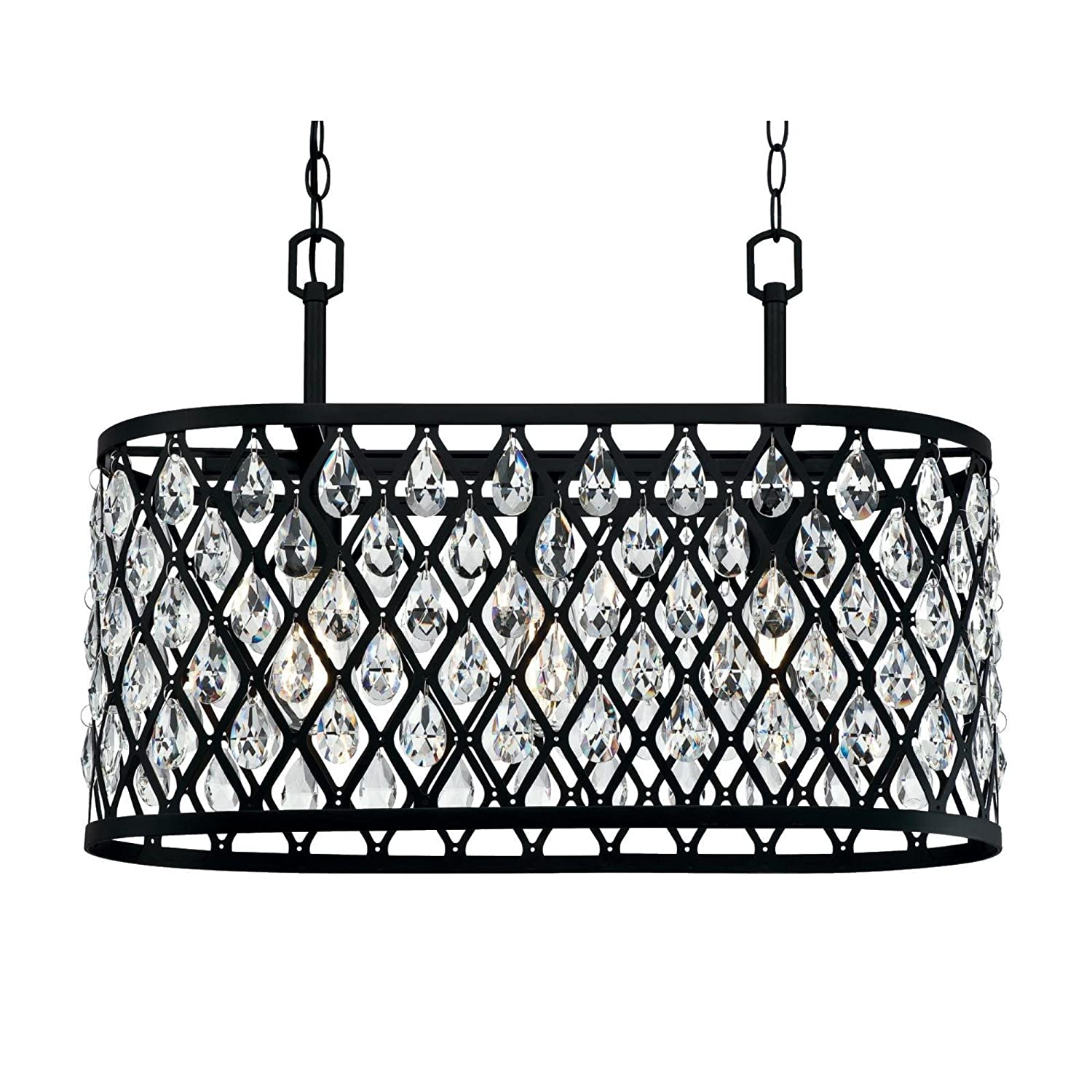 Westinghouse Lighting 6355000 Waltz Three-Light Indoor, Matte Black Finish Mesh with Crystals Chandelier, 3 White