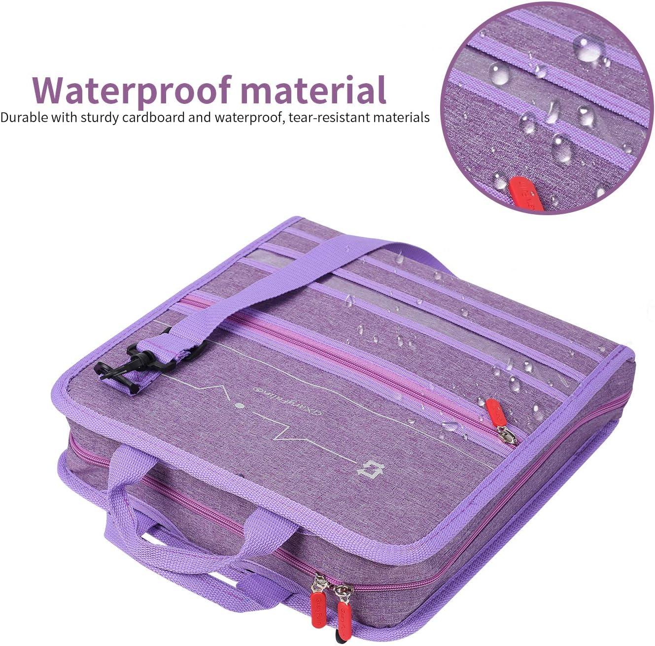 Purple GXaryFulin Zipper Binder 3-Ring Binder with Shoulder Strap 3-inch