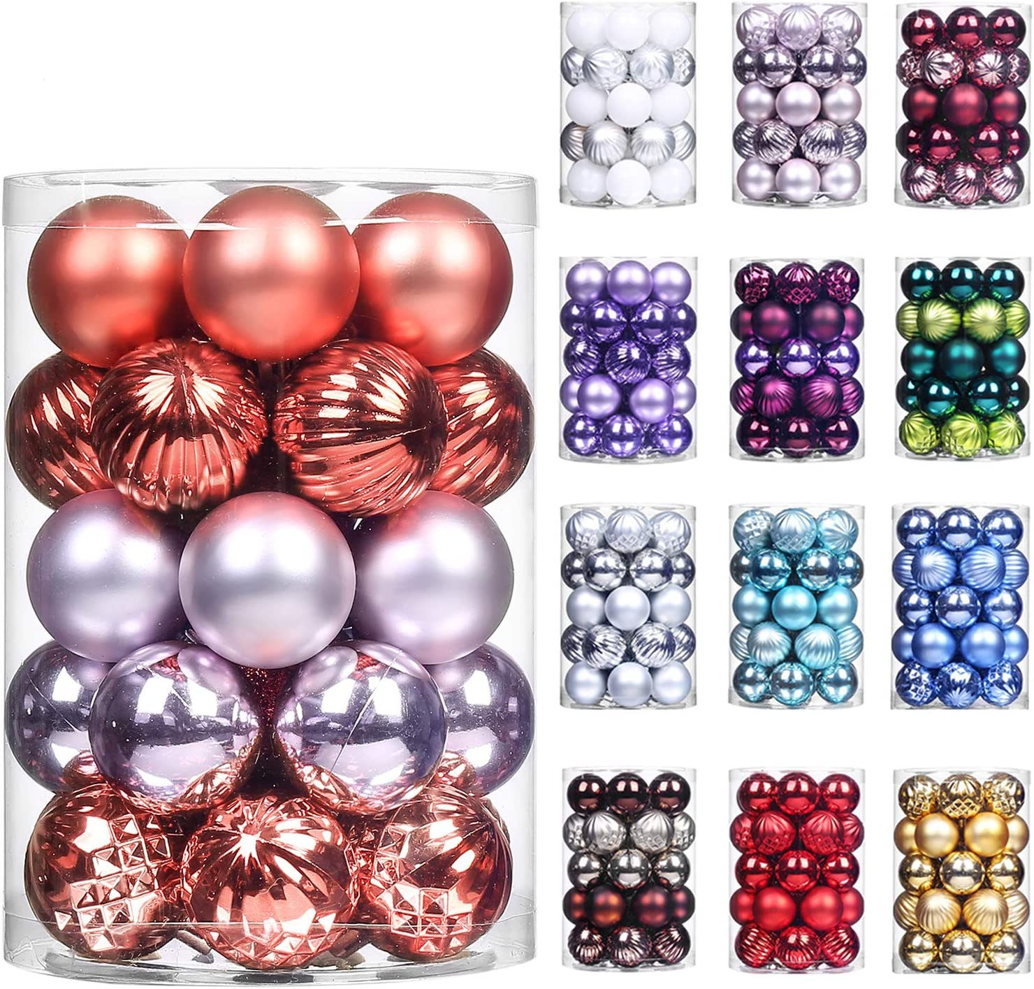 "XmasExp 34ct Christmas Ball Ornaments Shatterproof Christmas Ornaments Set Decorations for Xmas Tree Balls 40mm/1.57"" (1.57'',Coral Red)"