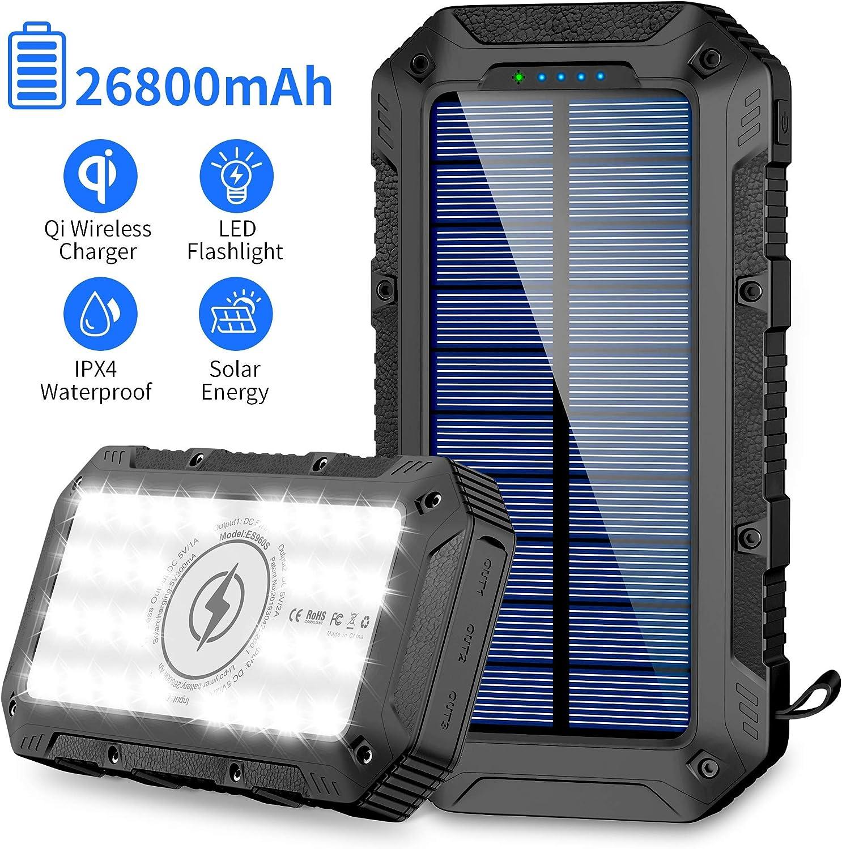 FKANT Power Bank Solar 26800mAh Batería Externa Solar con 4 Puertos (3 Salidas USB & QI Carga Inalámbrico) Cargador Solar 28 Linterna LED y Gancho Bateria Moviles IPX4 para iPhone Android iPad