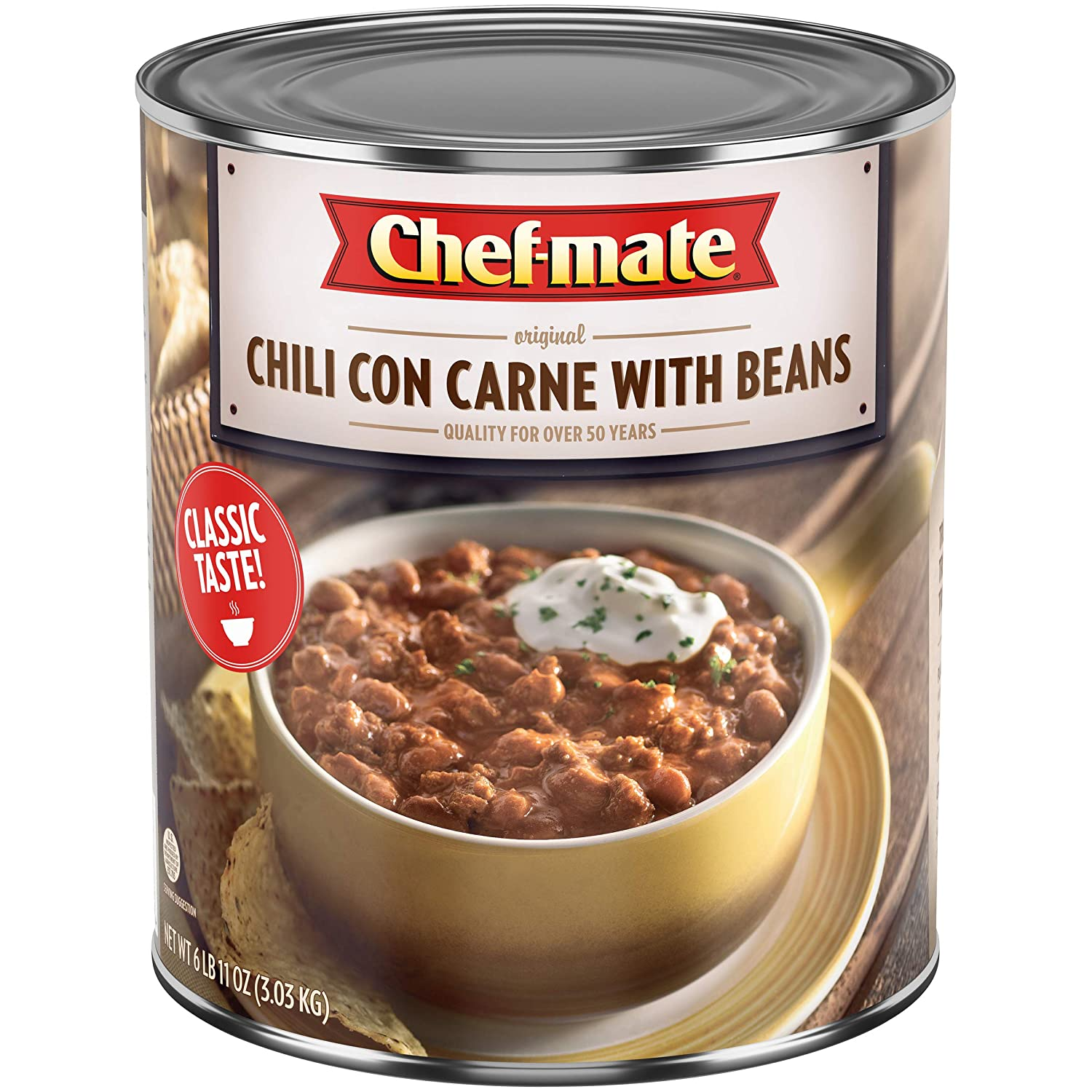 Chef Mate Beef Chili Chili Beans With Meat Canned Chili For Nachos Superbowl Party Supply 6 Lb 10 Oz 10 Can Bulk Amazon Com Grocery Gourmet Food