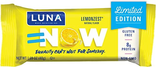 LUNA BAR – Gluten Free Bars – Lemon Zest Flavor – 1.69 Ounce Snack Bars, 15 Count Packaging May Vary