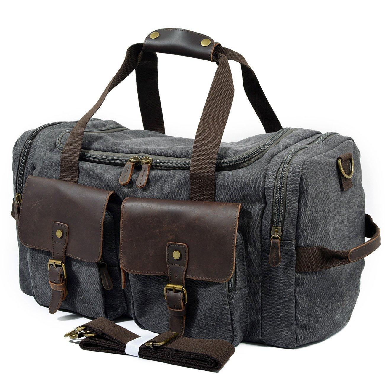 BAIGIO Canvas Weekend Bag Genuine Leather Travel Duffle Bag Vintage Carry On Tote 21'' Luggage (Dark Gray)