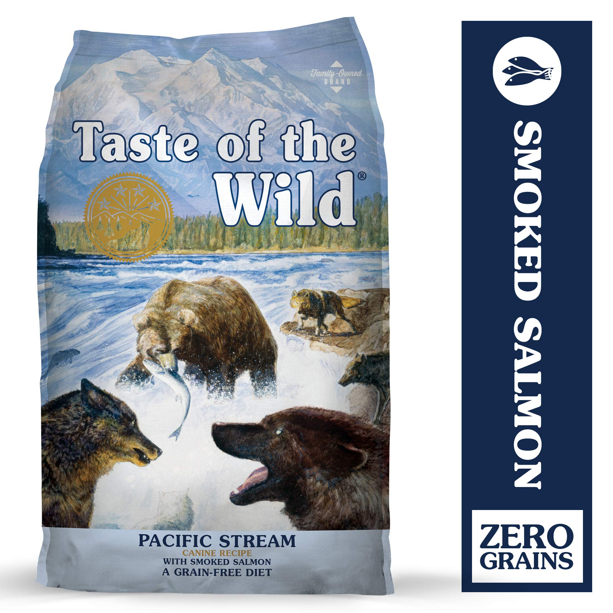 Taste of the Wild Pacific Stream Grain-Free Dry Dog Food with Smoked Salmon 28lb by Taste of the Wild