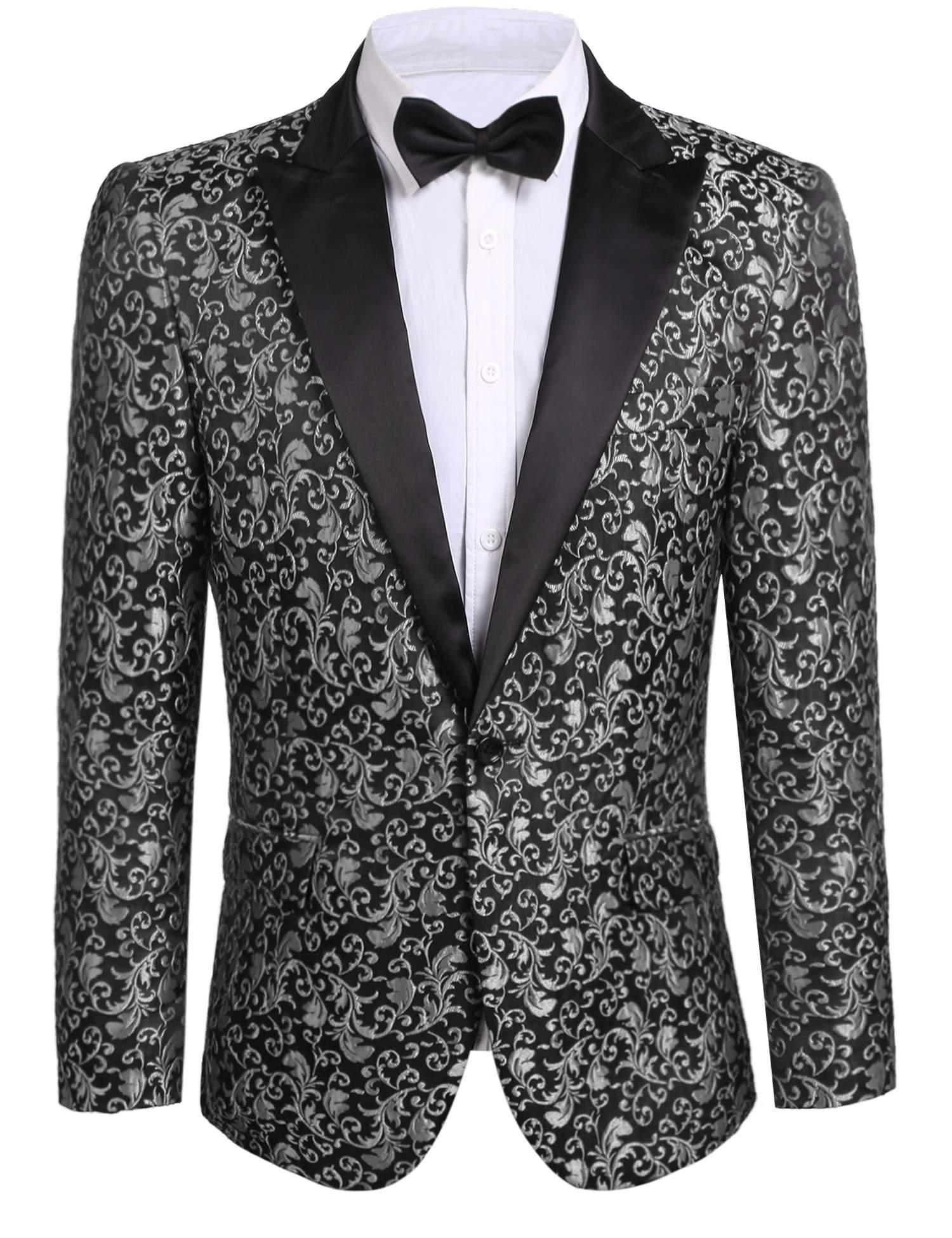 JINIDU Men's Floral Party Dress Suit Stylish Dinner Jacket Wedding Blazer Prom Tuxedo Gray by JINIDU