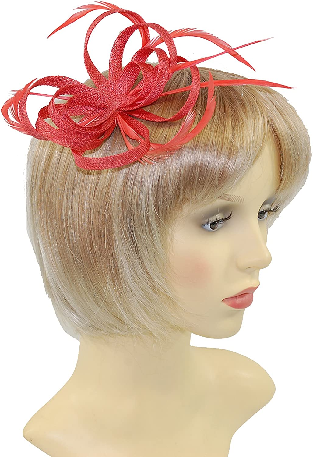 GIZZY/® Sinamay Loops Fascinator with Feather Tendrils on Hair Clip /& Brooch Pin.