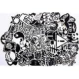 Modou 120 Piezas Adhesivo de Vinilo Blanco Negro calcomanía de Graffiti computadoras portátiles, patinetas, Equipaje, automóviles, Parachoques
