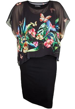Doris Streich Damen Sommerkleid mit Chiffonüberwurf große Größen ... 3f693a6e2c
