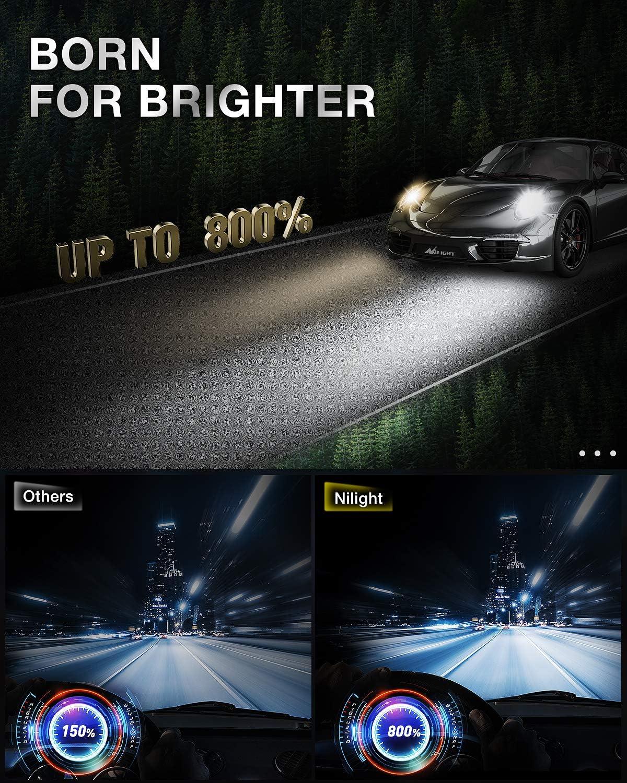 Pack of 2 H11 Low Beam // H9 High Beam 6000K Cool White 100W 16000 Lumens 700/% Super Brighter H11 // H8 // H9 LED Headlights Conversion Kit Nilight A9 H11 LED Headlight Bulbs