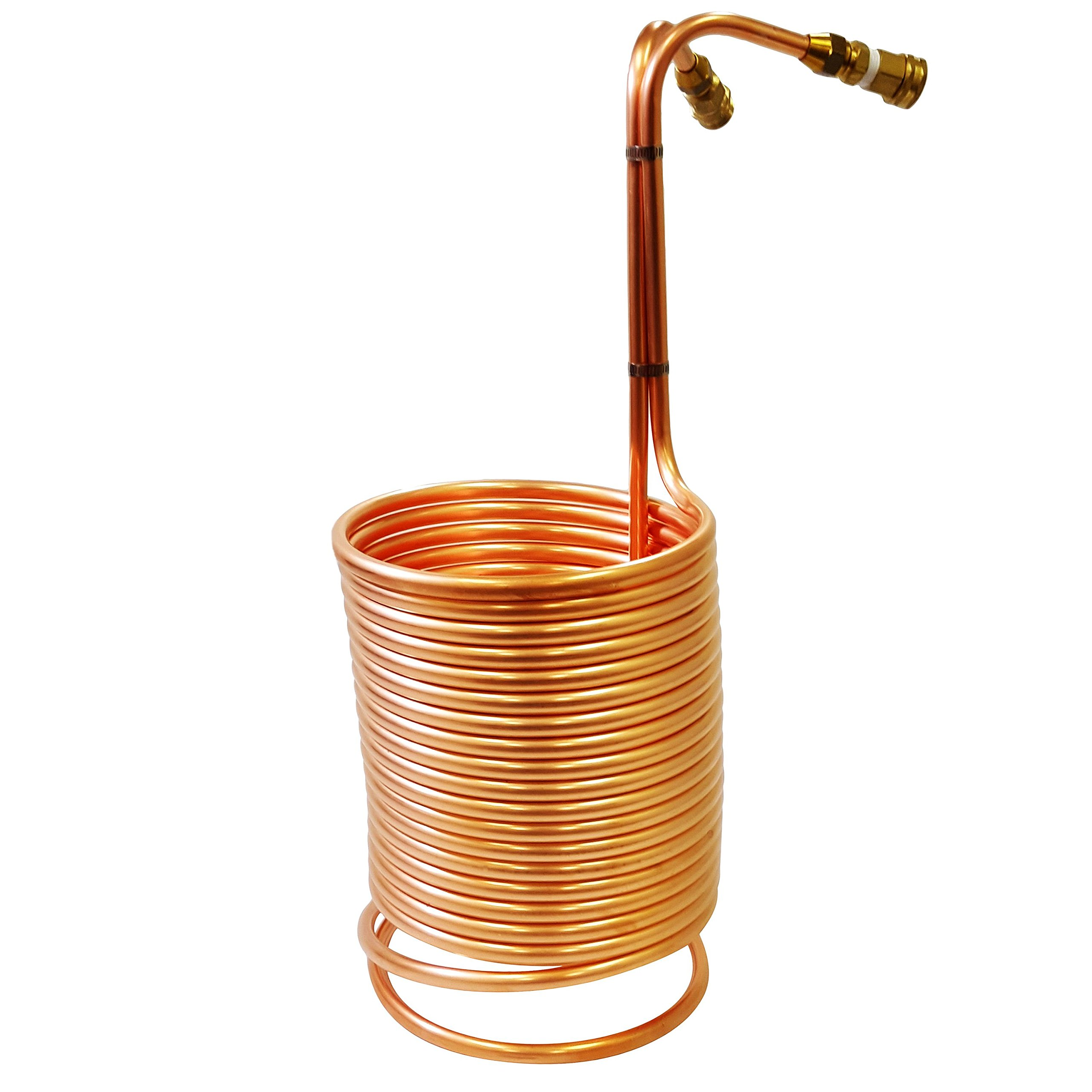 NY Brew Supply Wort Chiller with Garden Hose Fittings, 1/2'' x 50', Copper