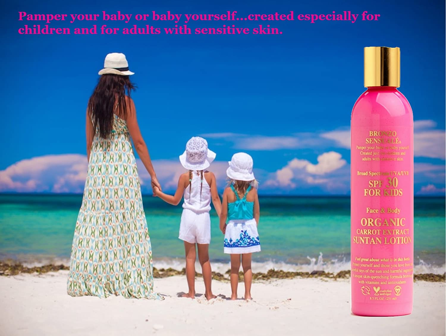 Bronzo Sensual SPF 30 UVA-UVB Sunscreen for KIDS Organic Carrot ...