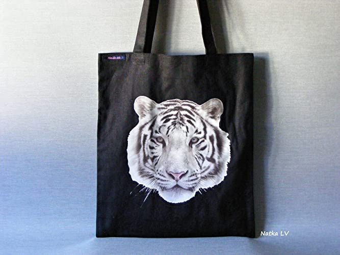 134797b1c Amazon.com: Tote bag with tiger, black shopping bag, natural linen ...