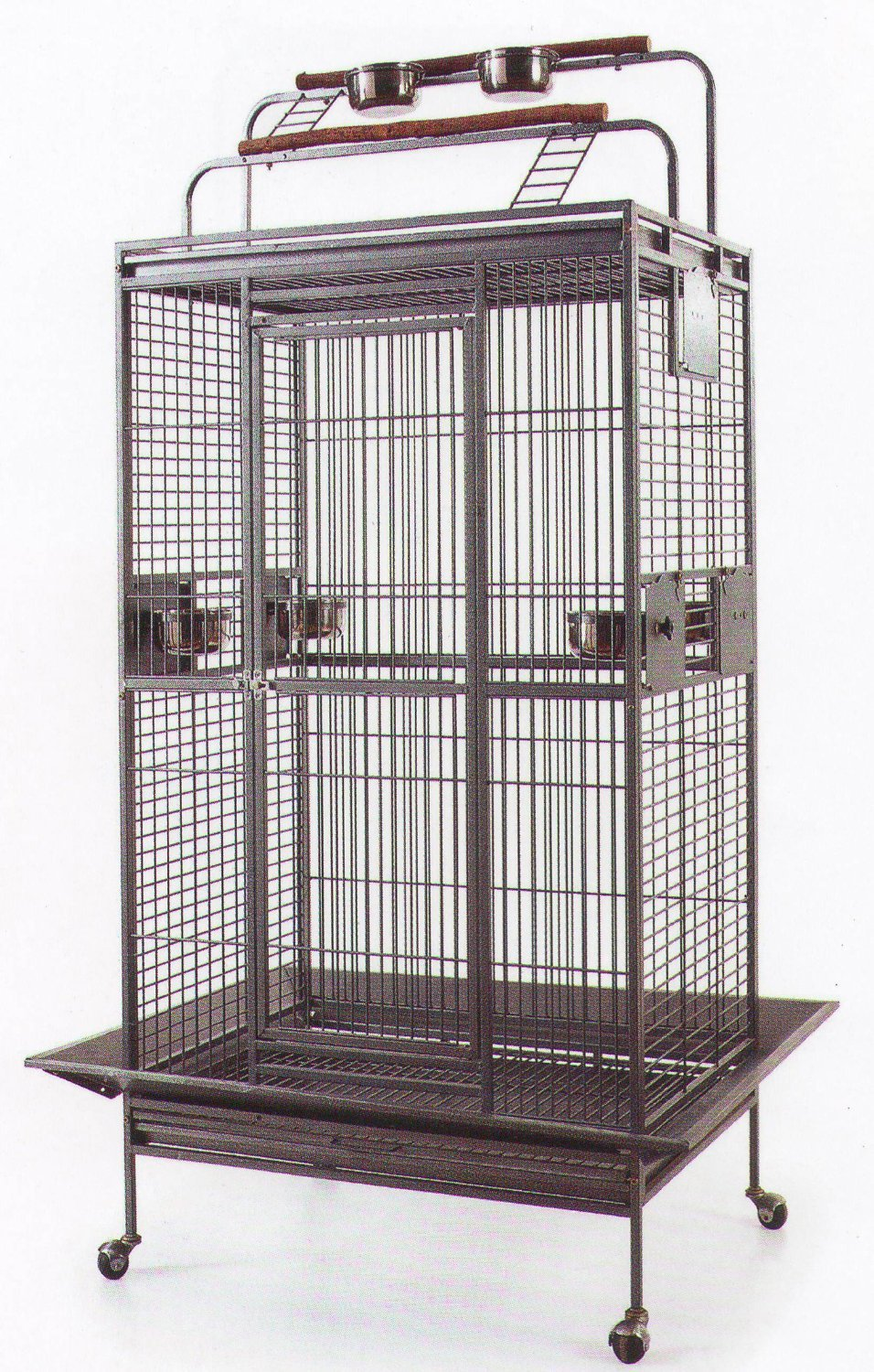 New Large Wrought Iron Bird Parrot Cage Double Ladders Open/Close Play Top, Include Seed Guard and Play Top *Black Hammertone* Mcage