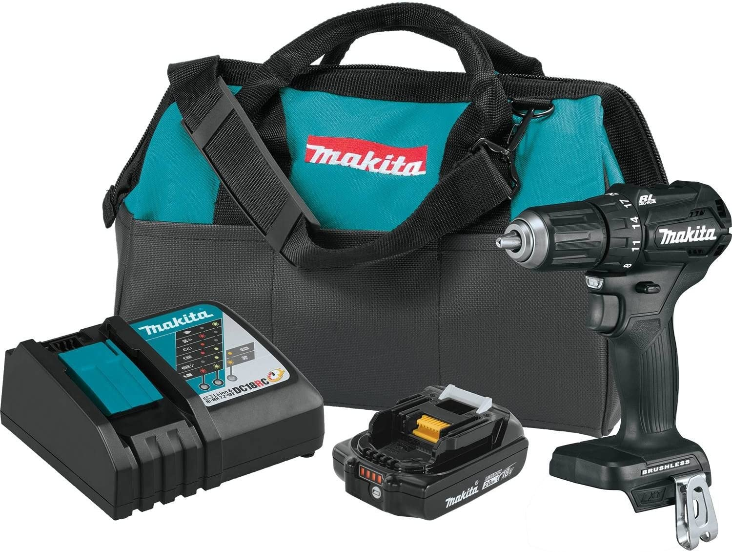Makita XFD11R1B 18V LXT Lithium-Ion Sub-Compact Brushless Cordless 1 2 Driver-Drill Kit 2.0Ah