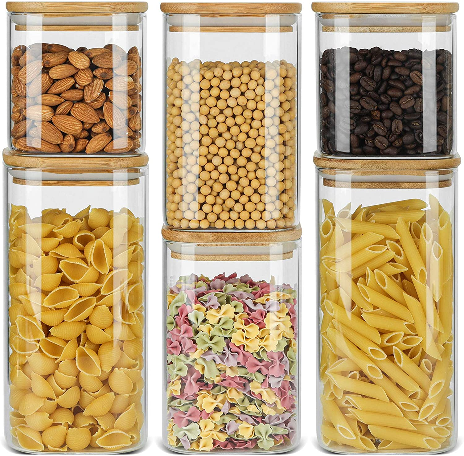 ComSaf Airtight Glass Storage Canister with Bamboo Lid (22oz/37oz/50oz) Set of 6, Clear Food Storage Container Kitchen Pantry Storage Jar for Flour Cereal Sugar Tea Coffee Beans Snacks, Square
