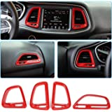 Voodonala for Challenger Center Console Air Condition Outlet Vent Trim Accessories for Dodge Challenger 2015 up (Red, 4ps)