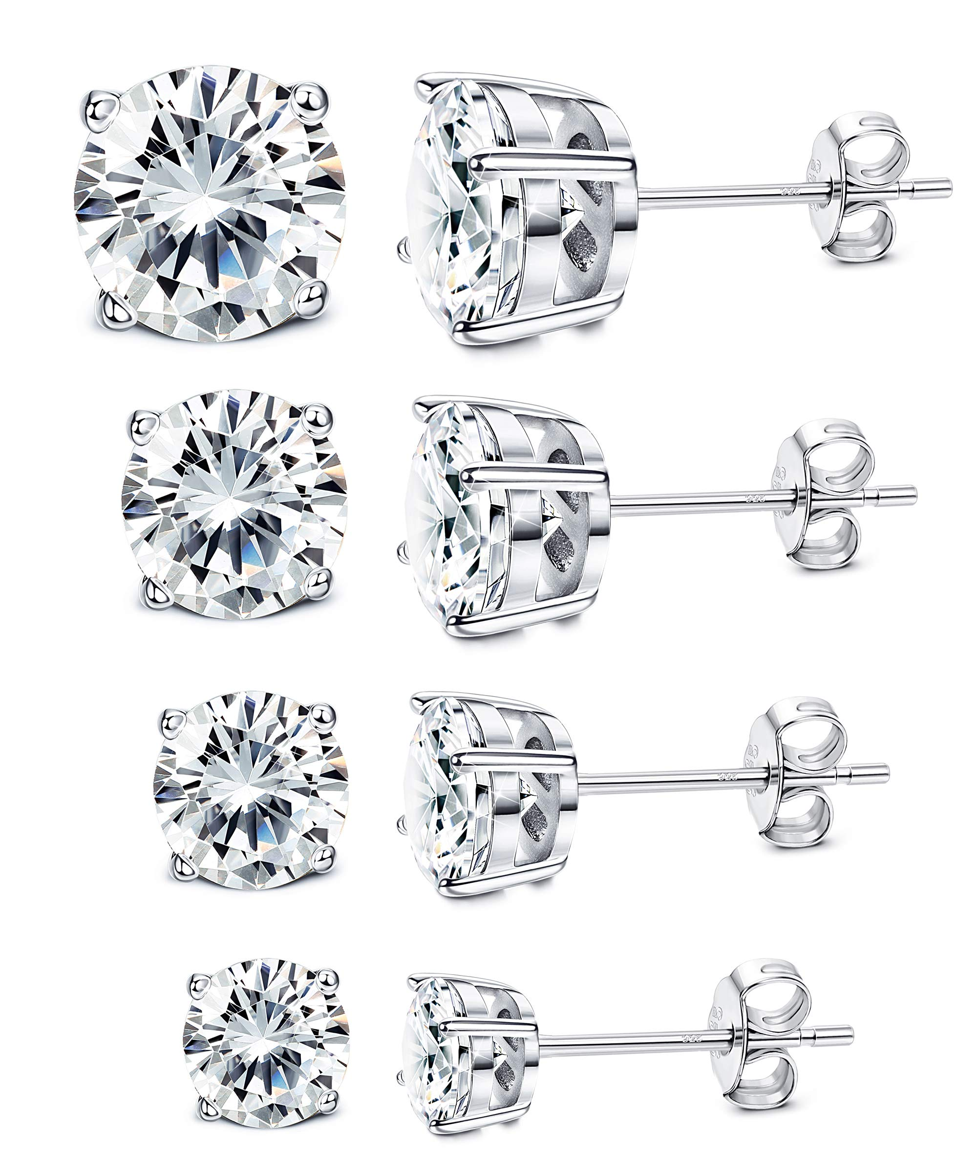 Milacolato 4 Pairs Sterling Silver Stud Earrings 18K White Gold Plated Round Cubic Zirconia Classic Basket Prong Set Earrings for Men Women 4-7mm