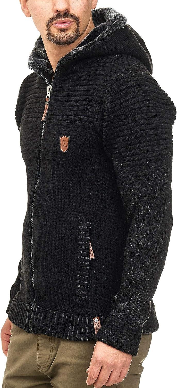 Indicode Uomo Lothian Giacca in Maglia con Cappuccio E Fodera Effetto Teddy Bear Tasche Laterali Calda Cerniera Lampo Cardigan Pullover Zipper Uomo Invernale per Uomo