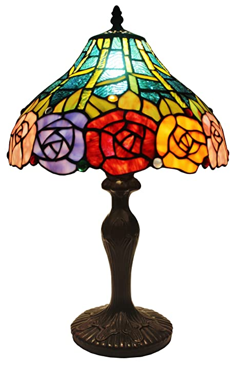 Amora lighting tiffany style am036tl12 roses design 19 inch table lamp